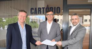 Bruno Almeida, director do Centro de Desporto da Universidade do Porto, Jorge Conde, presidente do Politécnico de Coimbra, e Pedro Costa, administrador do Politécnico de Leiria
